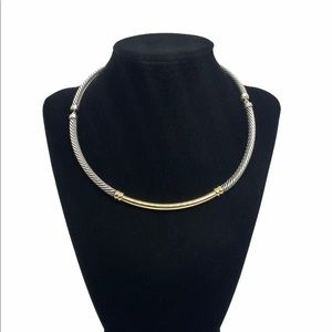 """David Yurman two tone 5mm Metro Cable Necklace 16"""""""